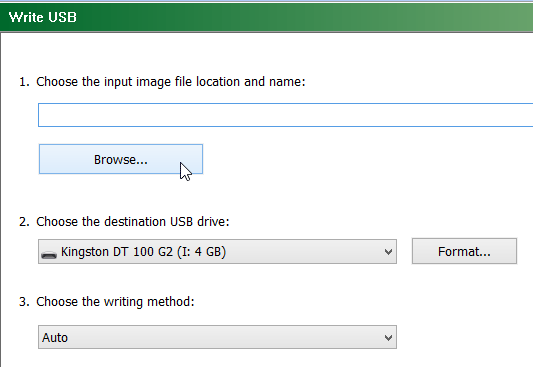 Select Browse to copy ISO File