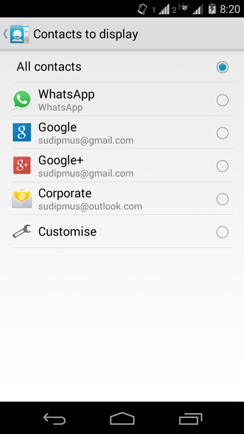 Select Source of Contacts