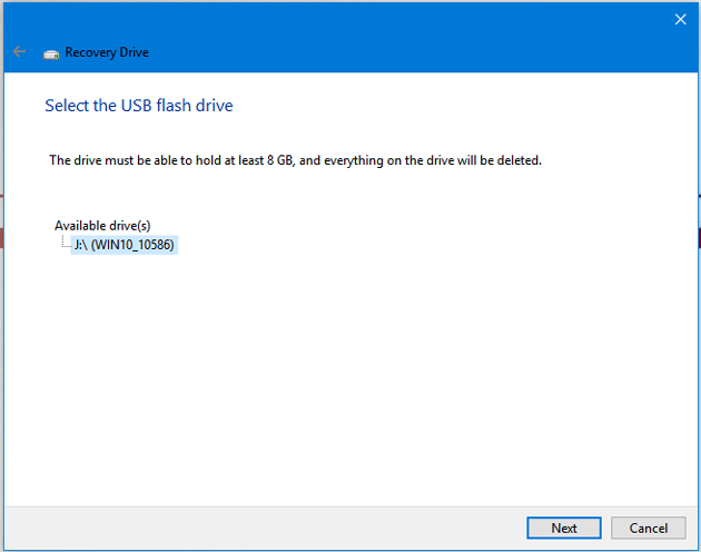 Select USB drive to create recovery drive