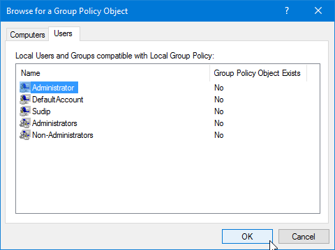 Select user to apply group policy editor
