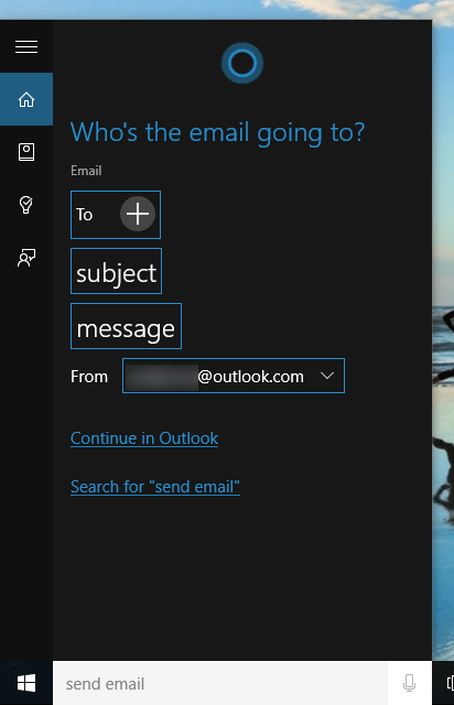 Send email using cortana