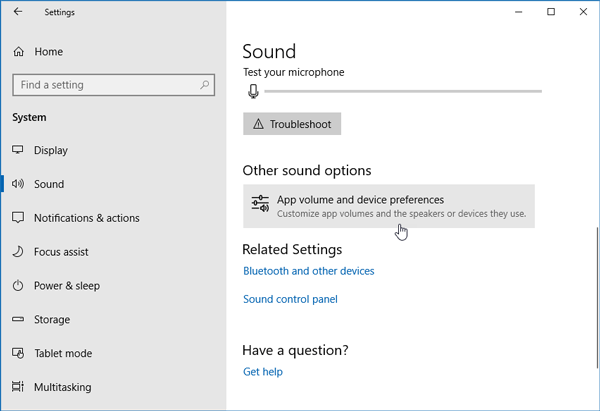 Set Different Sound Output and Level for Different Apps in Windows 10