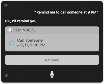 Set reminders 10 Things You Can Ask to Siri on macOS Sierra