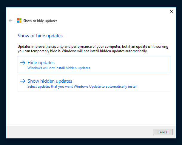 Show or hide updates in Windows 10