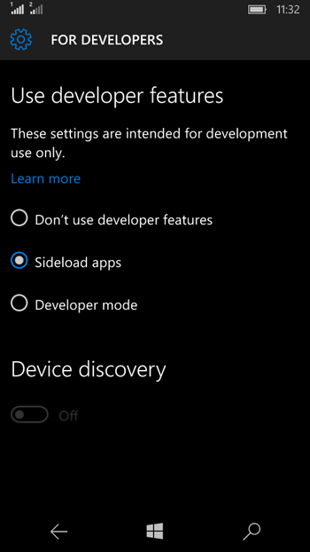 sideload apps on Windows Phone 10