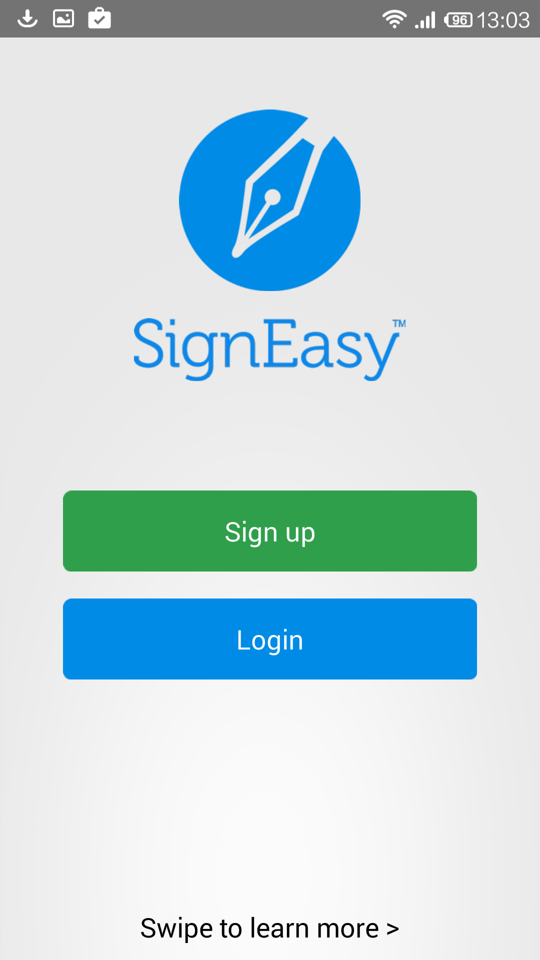 Sign Up for SignEasy app