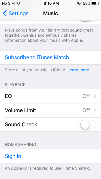Sing in to Apple ID to turn on home sharing