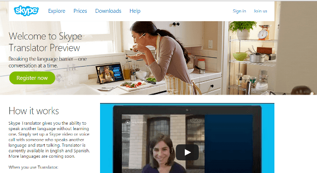 Skype Translator Preview Page Intro