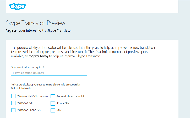 Skype Translator Preview Registration Page