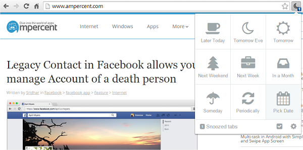 Tab Snooze for chrome