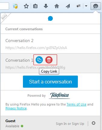 Firefox Hello - Delete