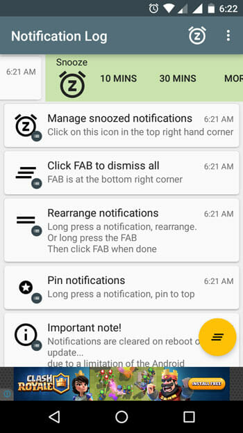 Snooze Android Notifications using Notif Log