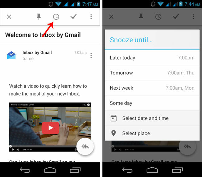 Snooze any Email