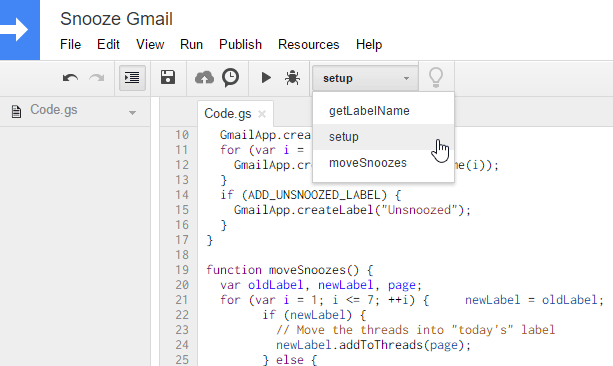 Snooze gmail using Google Scripts