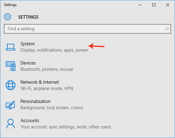 System settings on Windows 10 PC