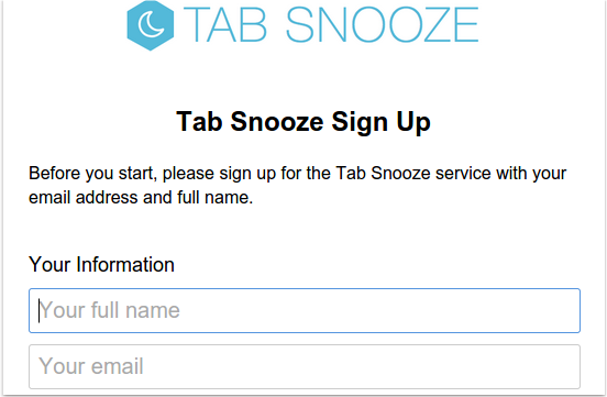 Tab snooze signup