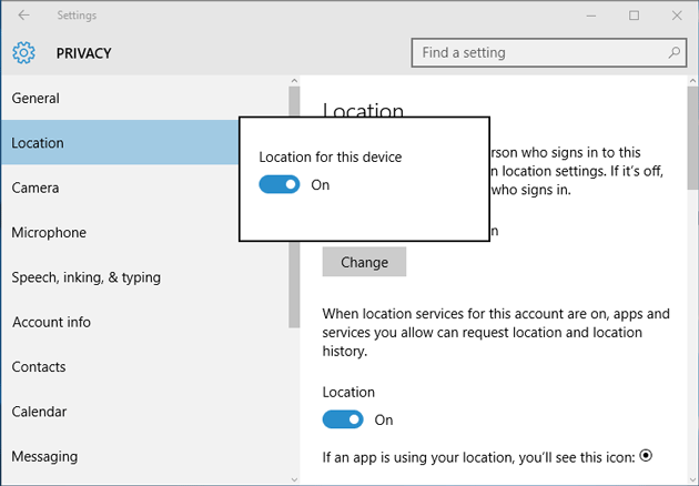 Turn on Location service in Windows 10