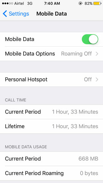 Turn on mobile data on iphone
