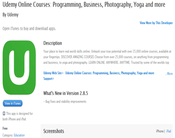 Udemy iOS App