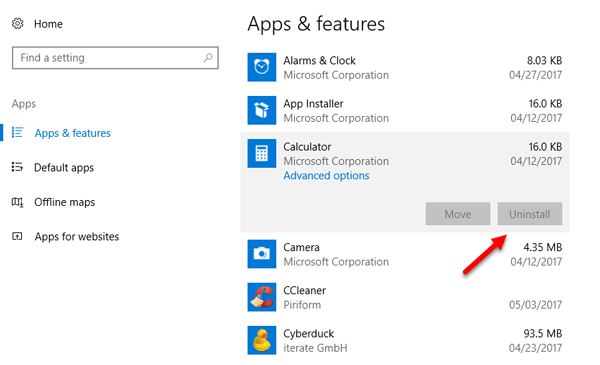 Uninstall Apps when Uninstall Option is Grayed Out in Windows 10 Settings