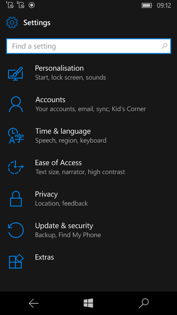 Update and Security Settings of Windows Phone 10