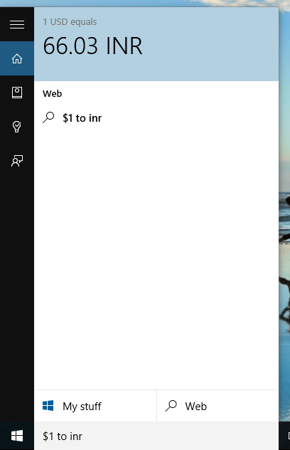 Use Cortana as currency converter