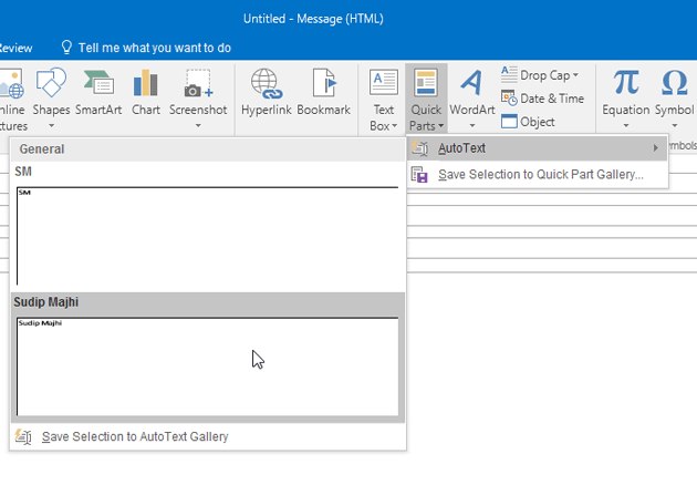 Use Quick Parts in Outlook