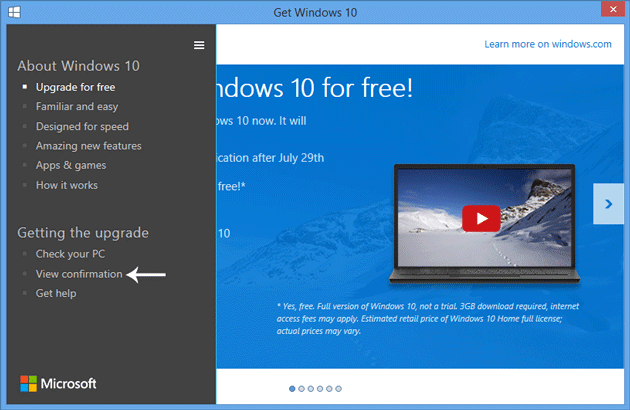 View-Windows-10-reservation-confirmation