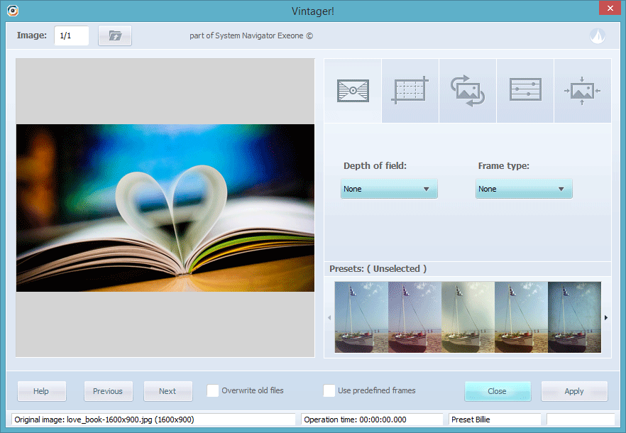 Vintager Interface with Image