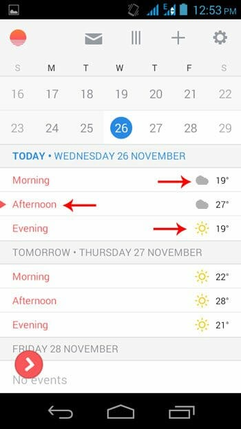 Weather Forecast on Sunrise Calendar
