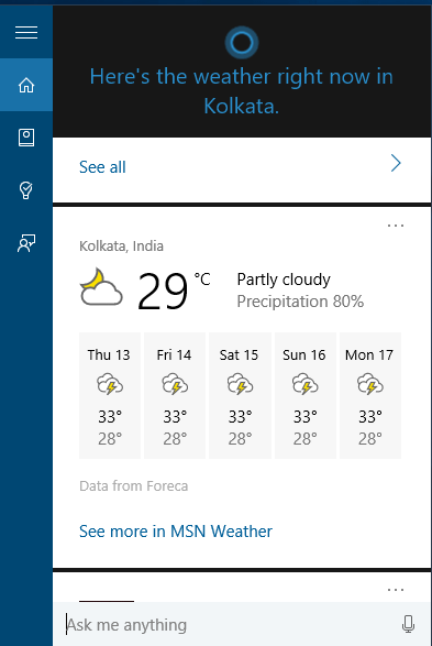 Weather forecast in Cortana for Windows 10