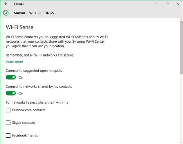 WiFi Sense in Windows 10