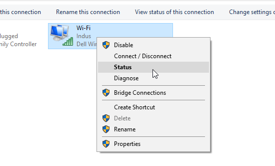 WiFi Status settings in Windows
