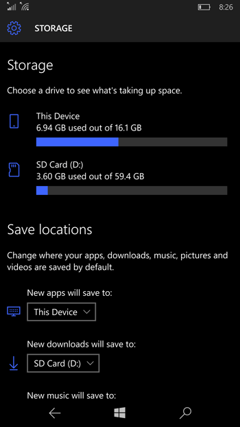 Windows 10 Mobile Insider Preview Build 10572 Storage Settings