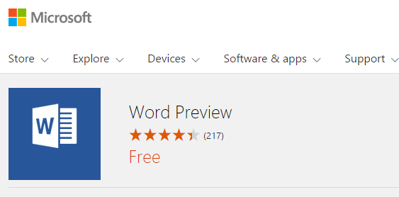 Windows 10 Word Preview Download Link