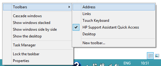 Windows 8 Toolbar Address box add
