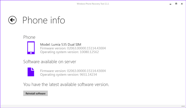 Windows phone software check