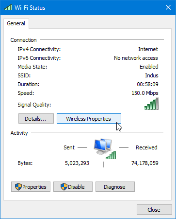 Wireless properties in windows