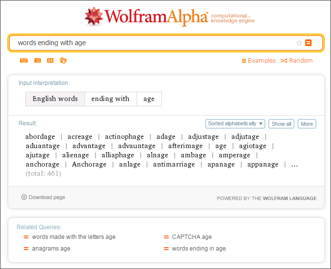Words ending_Wolfram Alpha