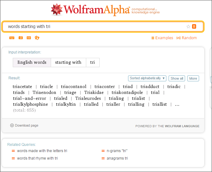 Words starting_Wolfram Alpha