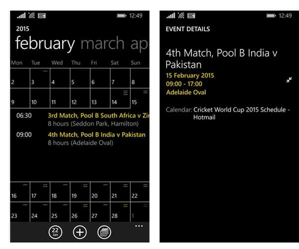 World Cup 2015 Calendar Sync 1_Windows Phone Calendar