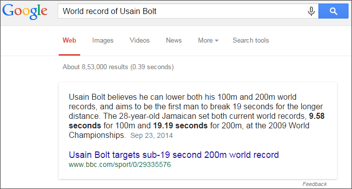 World record of Usain Bolt