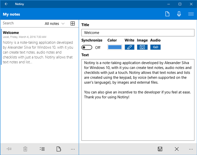 Write Note on notiny for Windows 10