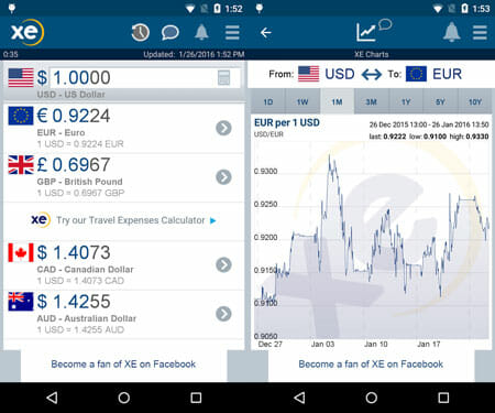 XE Currency Best Productivity Apps for Business Travelers and Solo Backpackers