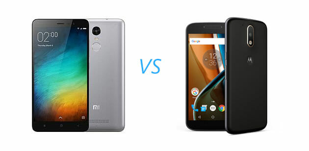 Xiaomi Redmi Note 3 vs Motorola Moto G4 Comparison