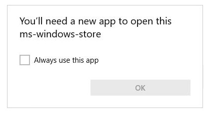 You'll need a new app to open this ms-windows-store