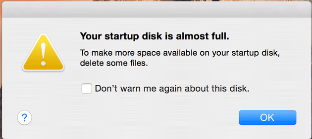 Your startup disk is almost full error in OS X