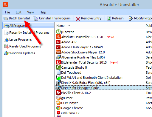 absolute uninstaller batch uninstallation