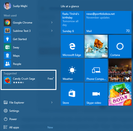 ads in Windows 10 start menu