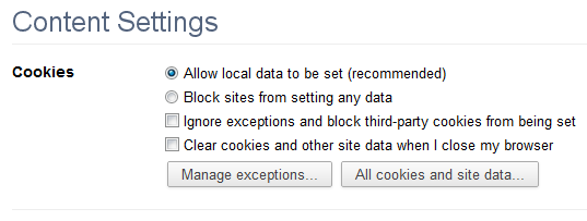 All cookies and site data in Chrome